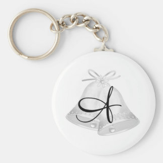 Wedding Bells Monogrammed Basic Round Button Key Ring
