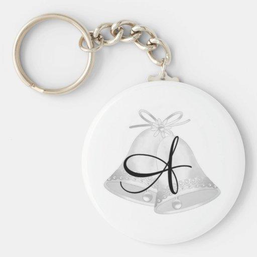 Wedding Bells Monogrammed Keychains
