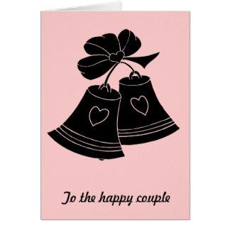 Wedding bells, pink greeting card