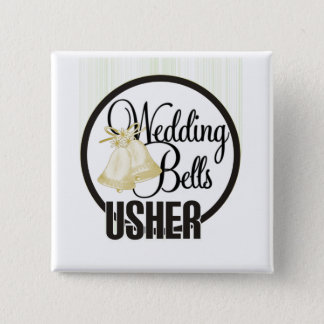 Wedding Bells Usher 15 Cm Square Badge