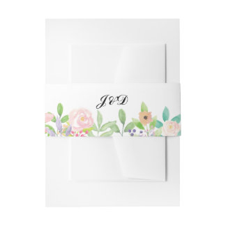 Wedding Belly Band Watercolour Envelope Floral Invitation Belly Band