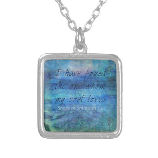 Wedding Bible Verse Art Scripture ocean sea Silver Plated Necklace