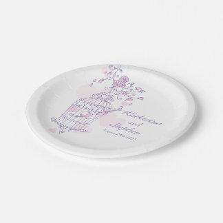 Wedding birdcage birds pink custom paper plate