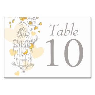 Wedding birds birdcage grey yellow table numbers