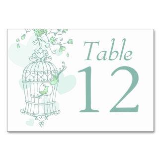 Wedding birds open birdcage green table numbers