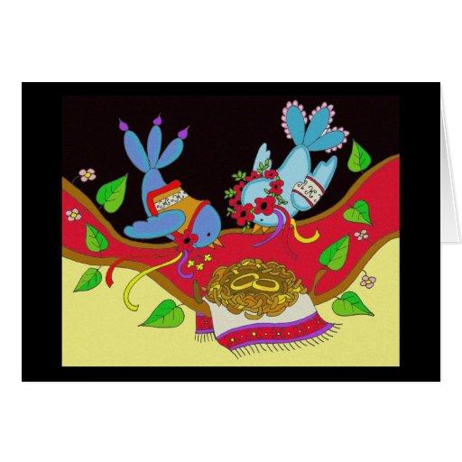 Wedding Birds Ukrainian Folk Art Card