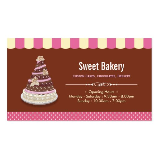 Wedding Birthday Tiered Cake - Sweet Bakery Shop Business Cards