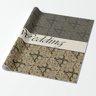 Wedding Black Golden Brocade Wrapping Paper