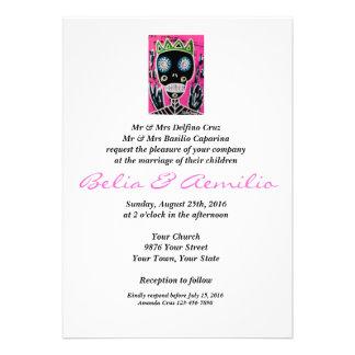 Wedding - Black King Sugar Skull Angel Custom Announcement