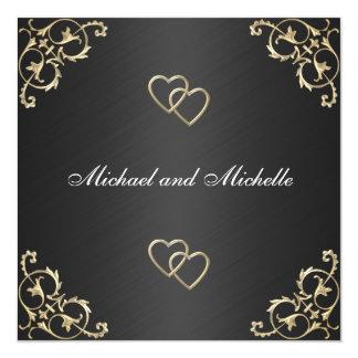 Wedding Black with Gold Metal Trims 13 Cm X 13 Cm Square Invitation Card