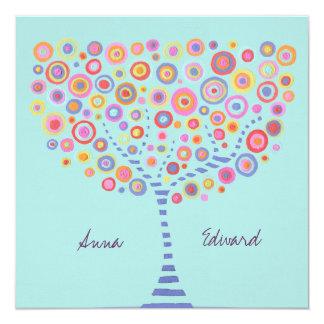 Wedding Blue Aqua Circle Tree Retro Invitation