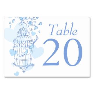 Wedding blue birds open birdcage table numbers