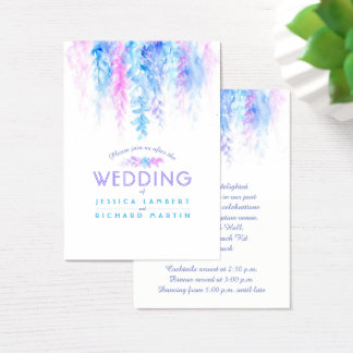 Wedding blue flower cascade info enclosure card