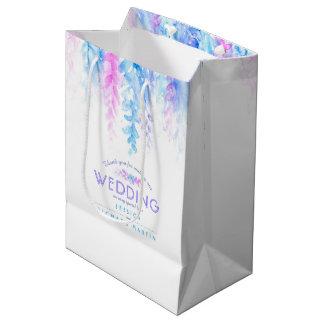 Wedding blue pink flowers thank you favour gift medium gift bag