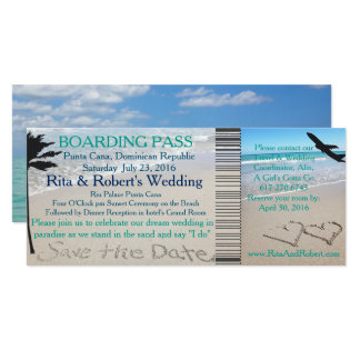 Wedding Boarding Pass Ticket Save the Date Ocean Card