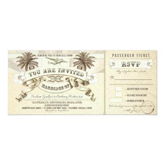"wedding boarding pass tickets invitations 4"" x 9.25"" invitation card"