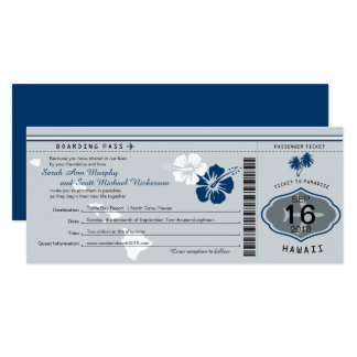 Wedding Boarding Pass to Hawaii Gray and Blue Card