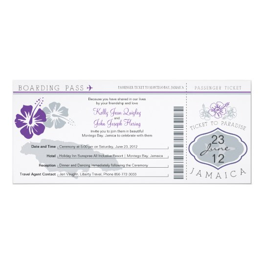 Wedding Boarding Pass to Jamaica Card