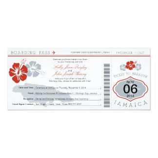 "Wedding Boarding Pass to Jamaica 4"" X 9.25"" Invitation Card"