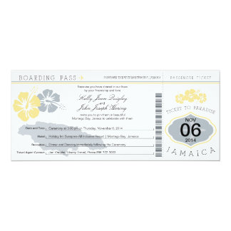 Wedding Boarding Pass to Jamaica Personalized Announcement