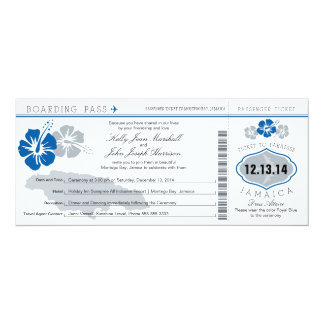 Wedding Boarding Pass to Jamaica Announcement