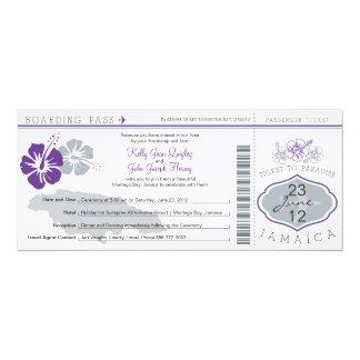 Wedding Boarding Pass to Jamaica 4x9.25 Paper Invitation Card