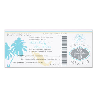Wedding Boarding Pass to Mexico 10 Cm X 24 Cm Invitation Card