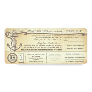wedding boarding pass-vintage tickets with RSVP 10 Cm X 24 Cm Invitation Card