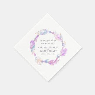 Wedding bohemian feather and beads purple napkins disposable napkin