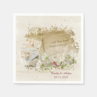 wedding book with daisies paper napkin
