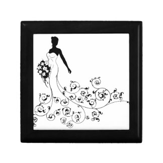 Wedding Bouquet Abstract Bride Silhouette Small Square Gift Box