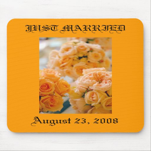 wedding bouquet,  JUST MARRIED Mousepad