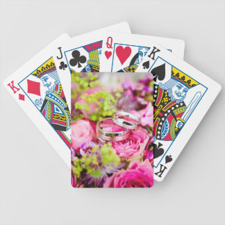 Wedding Bouquet with Wedding Ring Bands Bicycle Playing Cards