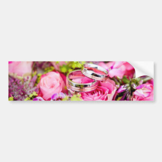 Wedding Bouquet with Wedding Ring Bands Bumper Sticker