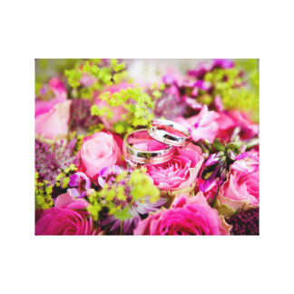 Wedding Bouquet with Wedding Ring Bands Canvas Print