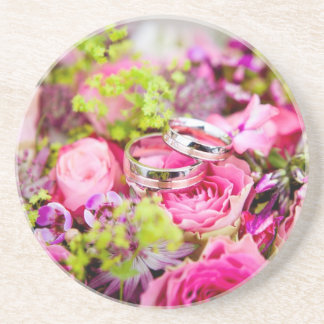 Wedding Bouquet with Wedding Ring Bands Coaster