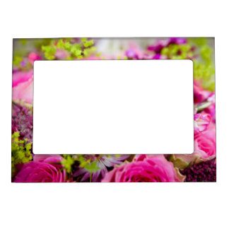 Wedding Bouquet with Wedding Ring Bands Magnetic Picture Frames