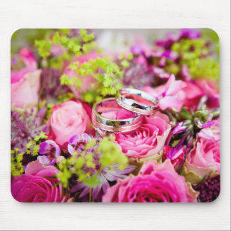 Wedding Bouquet with Wedding Ring Bands Mouse Pad
