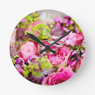 Wedding Bouquet with Wedding Ring Bands Round Clock