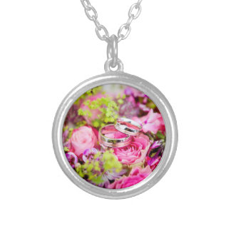 Wedding Bouquet with Wedding Ring Bands Silver Plated Necklace