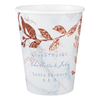 Wedding Bridal Blush Marble Blue Rose Gold Cooper Paper Cup