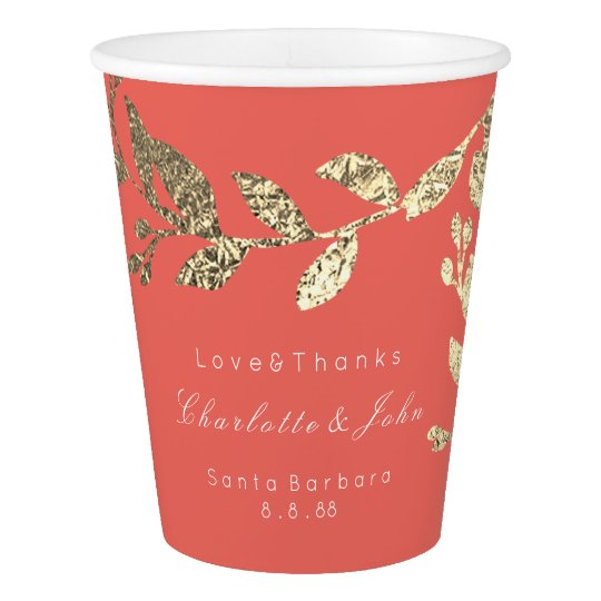 Wedding Bridal Floral Faux Gold Coral Garland Paper Cup