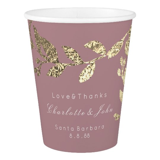 Wedding Bridal Floral Faux Gold Red Bean Blush Paper Cup
