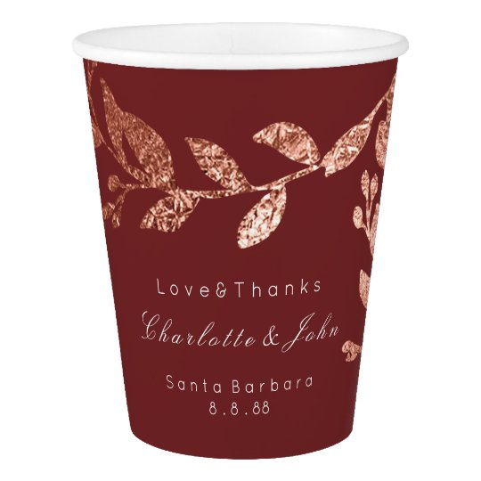 Wedding Bridal Floral Rose Gold Burgundy Maroon Paper Cup