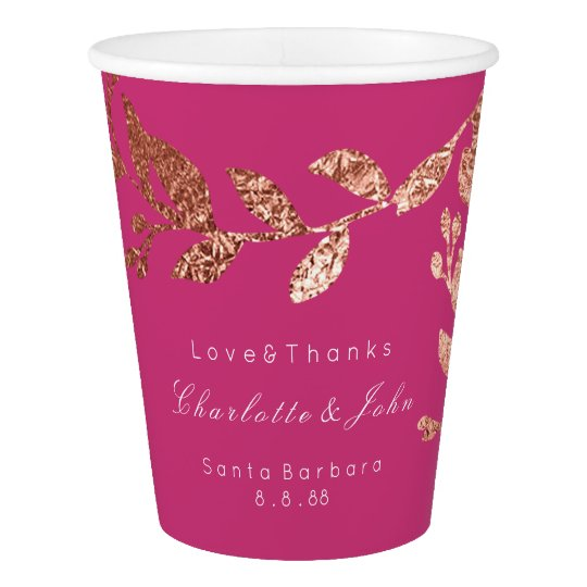 Wedding Bridal Floral Rose Gold Fuchsia Pink Paper Cup