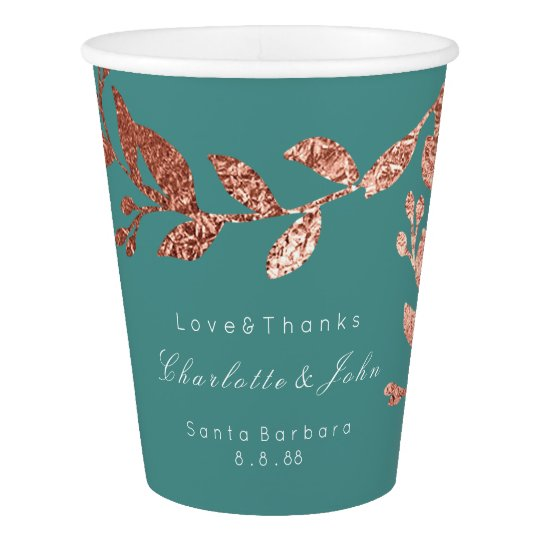 Wedding Bridal Floral Rose Gold Teal Aquatic Green Paper Cup