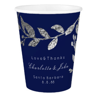 Wedding Bridal Floral Silver Gray Blue Navy White Paper Cup