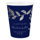 Wedding Bridal Floral Silver Grey Blue Navy White Paper Cup