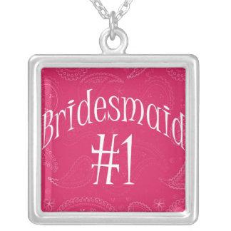 Wedding/Bridal Keepsake for Bridesmaids Square Pendant Necklace