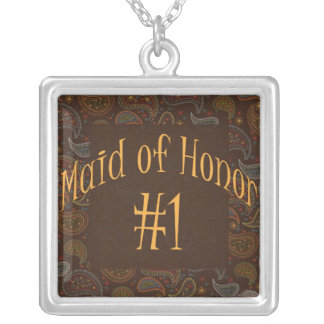 Wedding/Bridal Keepsake for Maid of Honor Square Pendant Necklace